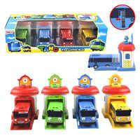 4 pièces/ensemble échelle modèle tayo le petit bus enfants miniature bus en plastique bébé oyuncak garage tayo bus enfants jouets cadeau de noël