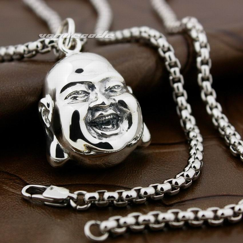 LINSION Huge Happy Buddha Head 925 Sterling Silver Mens Biker Rock Punk Pendant 8X019