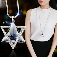 European and American fashion new six-star evening high-end crystal dress sweater chain necklace jewelry
