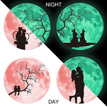 Stickers Pink Love Luminous Moon Wall Sticker For Kids Room Decoration Glow in the dark Vinyl Decals On muraux