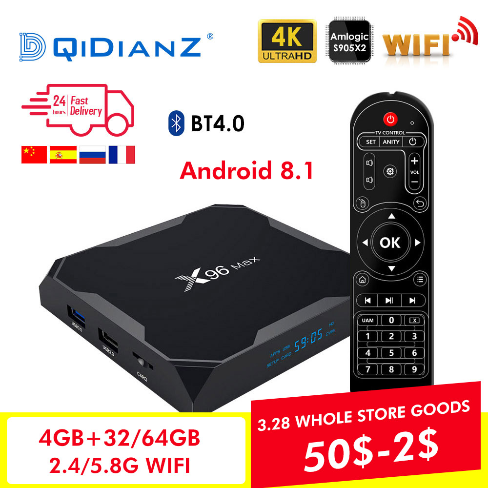 X96 Max boîtier de smart tv Android 8.1 2.4G/5G Wifi Bluetooth 4.0 S905X2 Quad Core 4 K 1080 P full HD Netflix Lecteur X96max Set-Top Box