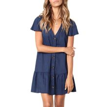 купить Women Summer Short Sleeves Cotton Linen Mini Swing Dress Button Down V-Neck Solid Color Ruffle Hem Casual Loose Beach Sundress дешево