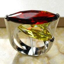 Enormes granate citrino anillo de plata 925 tamaño 6 7 8 9 10 R95