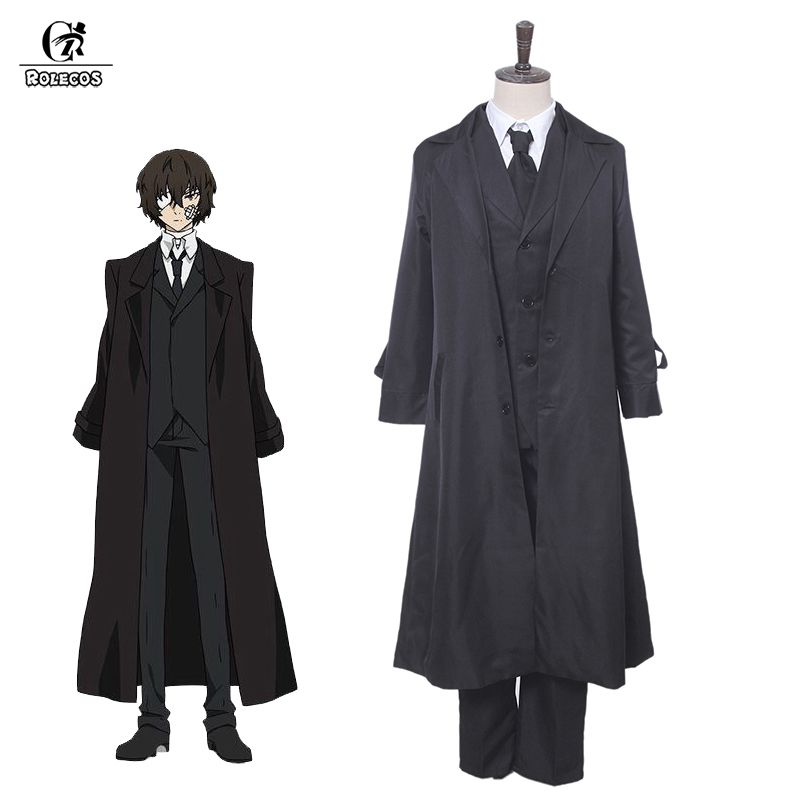 ROLEOCS Anime Bungou Stray Dogs Cosplay Costume Dazai Osamu Cosplay Costume Men Black Trench Pant Tie