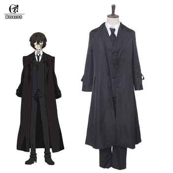 ROLEOCS Anime Bungou Stray Dogs Cosplay Costume Dazai Osamu Cosplay Costume Men Black Trench Pant Tie 4PCS Sets Outfit Halloween - DISCOUNT ITEM  17% OFF All Category