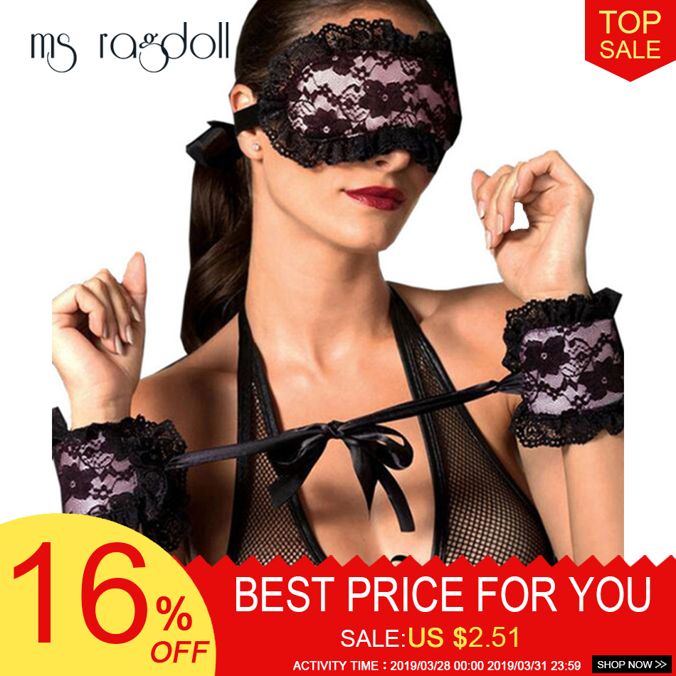 Buy 2018 Exotic Apparel Sexy Lingerie Hot Lace Mask Blindfolded Patch + Sex Handcuffs Sex Toys Couple Erotic Lingerie Women
