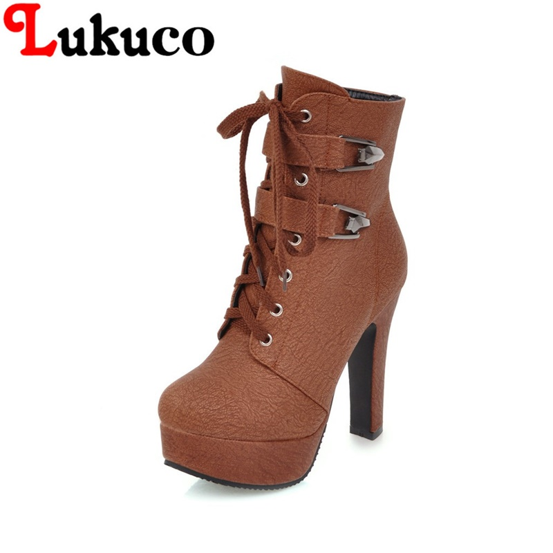 2018 large big size 38 39 40 41 42 43 44 45 46 47 48 49 Lukuco women boots lace-up design high quality zip shoes free shipping