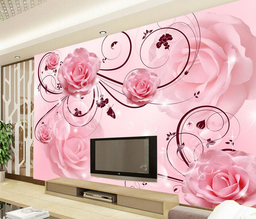 Custom large murals,3D Pink roses papel de parede,hotel restaurant living room TV background sofa wall bedroom roses wallpaper 1pc radius 2mm 2 flutes hrc60 r2 8 d4 100 solid carbide ball nose end mill cnc router bits tools milling cutter