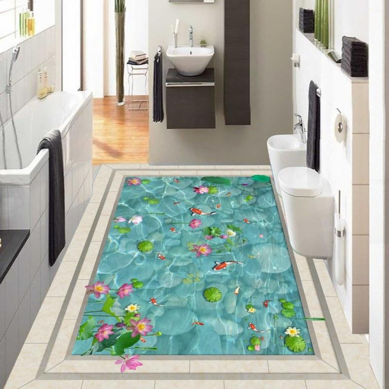 Free Shipping Lotus Flower Flooring Wallpaper Kitchen Restaurant