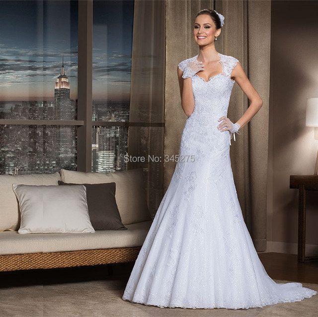 Fashionable shinning queen anne neckline a line sequined for Queen anne neckline wedding dress