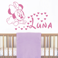 JJRUI Wall Girl Personalised Name Decals Baby Minnie Mouse Vinyl Sticker Baby Girl Name Nursery Art