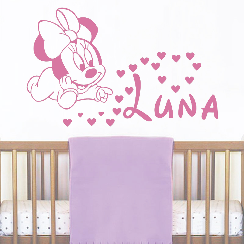 jjrui wall girl personalised name decals baby minnie mouse vinyl sticker baby girl name nursery. Black Bedroom Furniture Sets. Home Design Ideas