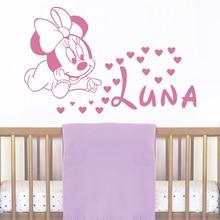 JJRUI Wand Mädchen Personalisierte Namen Aufkleber Baby Minnie Maus Vinyl Aufkleber Baby Name Gärtnerei Kunst für Kinder Zimmer