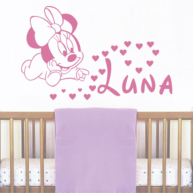 JJRUI Wall Girl Personalised Name Decals Baby Minnie Mouse Vinyl Sticker  Baby Girl Name Nursery Art Part 97