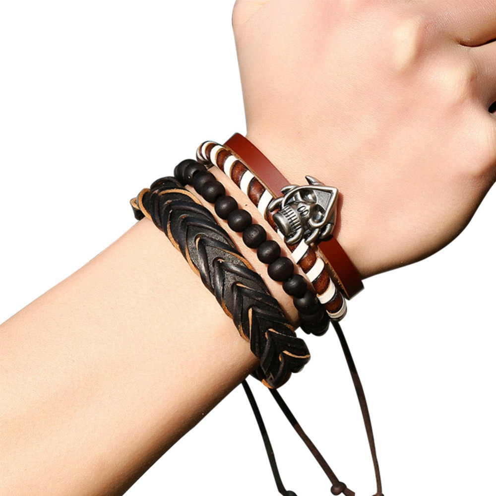 Mix 4 Wrap Bracelets Men Women, Hemp Cords Wood Beads Ethnic Tribal Bracelets Leather Wristbands