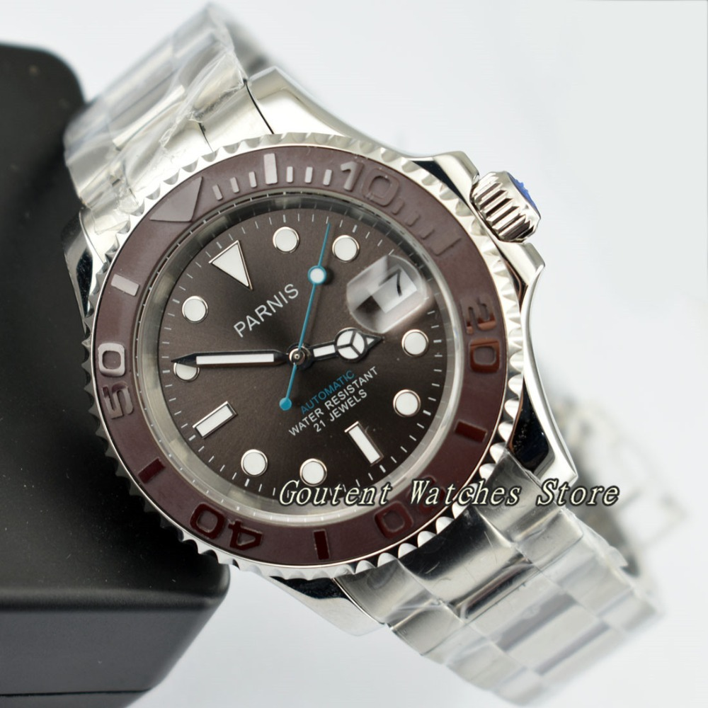 41mm Parnis Ceramic Bezel Coffee Dial Automatic Men s Watch