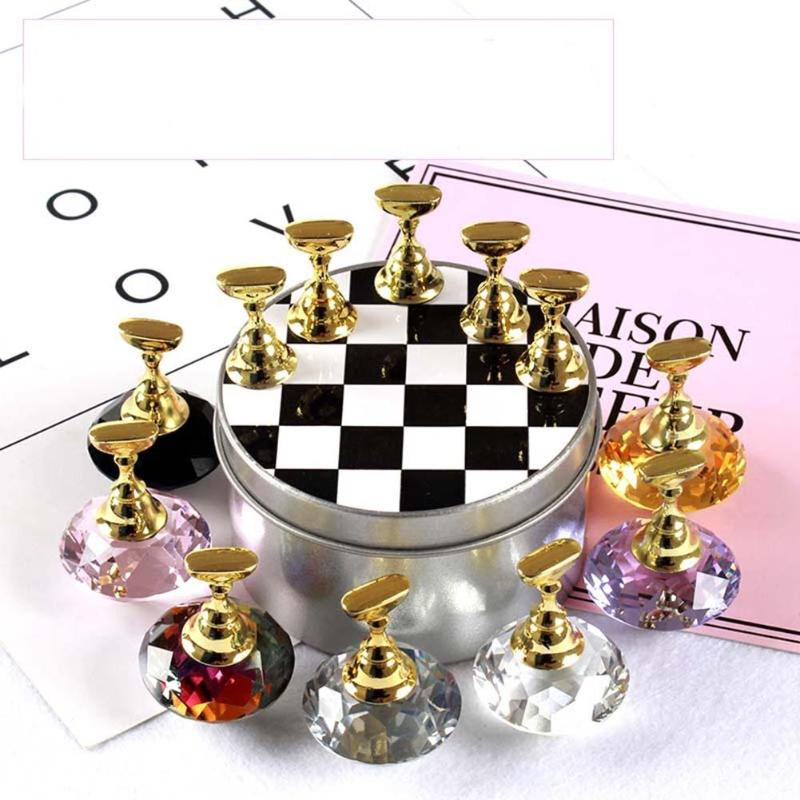 1 Set Nail Art Tips Practice Stand Crystal Rhinestone Holder Chess Board Design for Nail Art Equipment hisenlee 1728pc pack multi size ss3 ss10 blue green pink white opal nail rhinestone glitter flat back crystal gems 3d nail art
