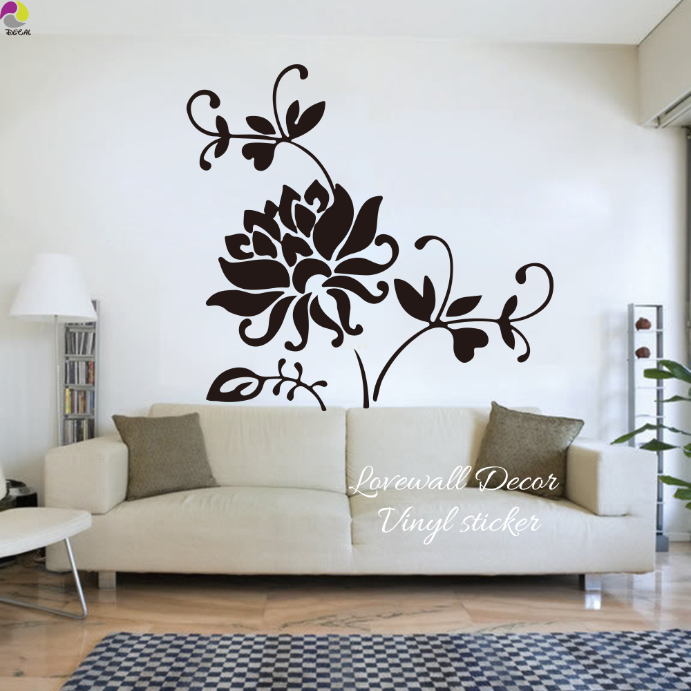 Décorations Murales Stickers Maison Floral Wall Decal Stickers Fleur Moderne Salon Deco Design Art Vinyle Autocollant Usambaratravels Com