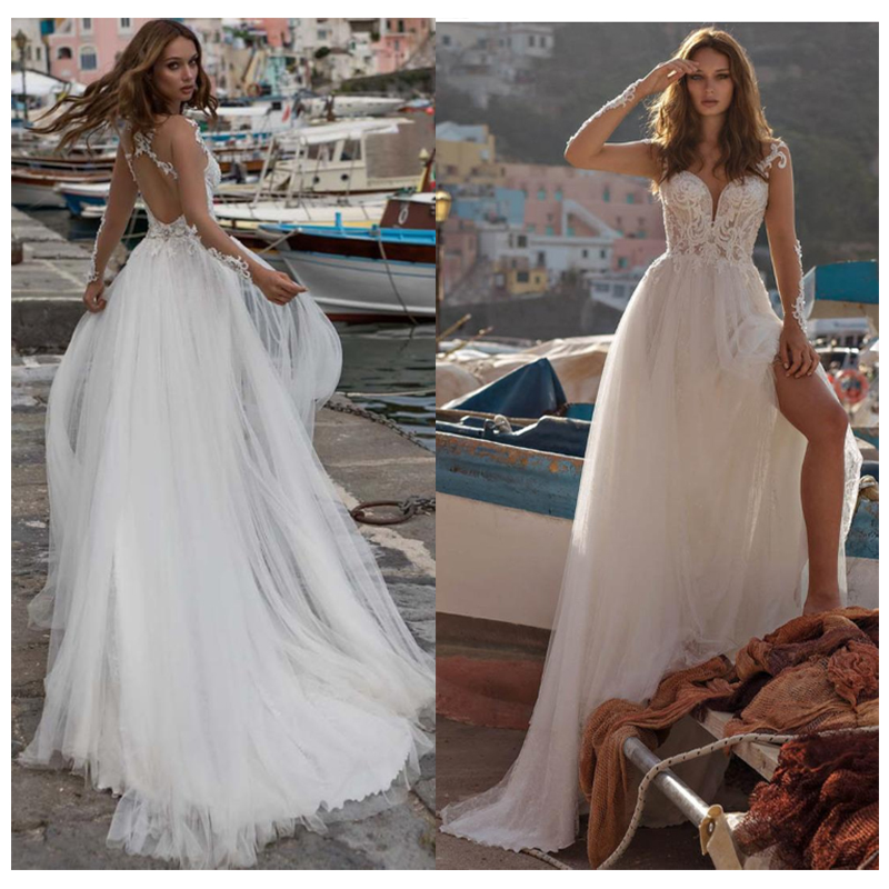 LORIE Beach Wedding Dress Lace Appliques Vestidos De Novia Vintage White Side Split Bridal Dress Floor Length Wedding Gowns