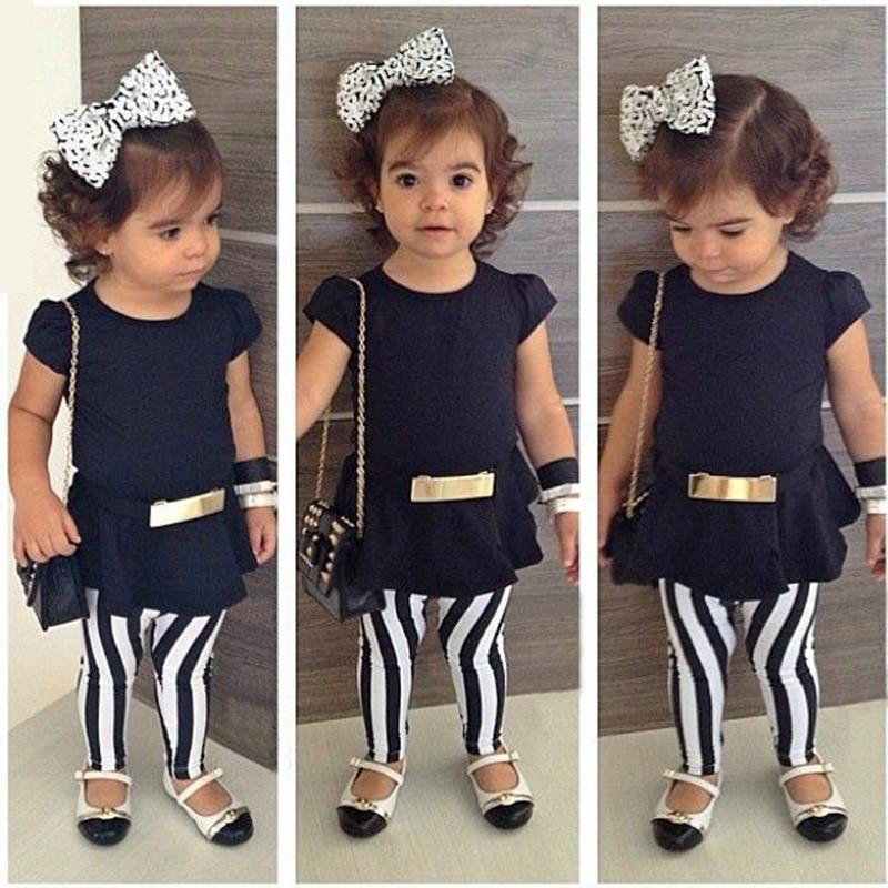 2017 Spring Summer Baby Clothing Set Kid Infant Girl t shirt Pants Leggings Chilren Girl clothes Set PJY0264 2-11T