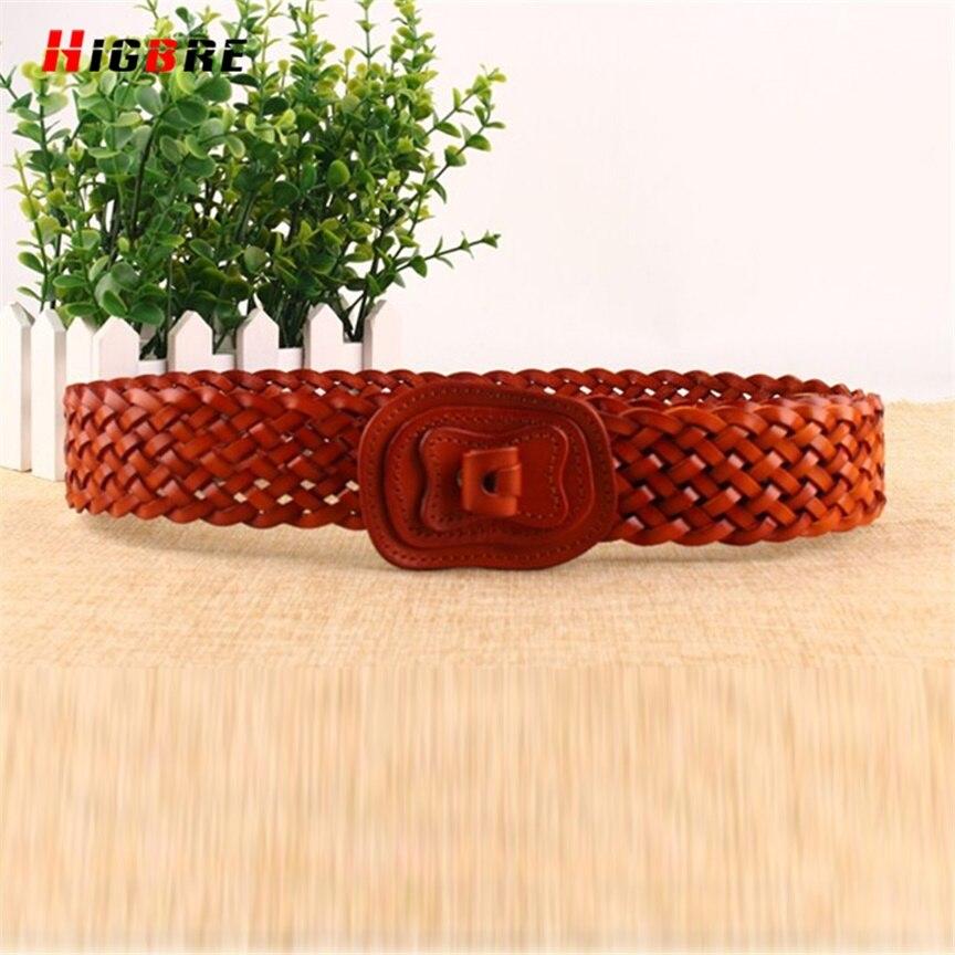 HIGBRE moda cinturones elásticos anchos trenzado armadura del cuero genuino cinturón correas alta calidad cintura Cinto Feminino Couro