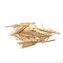 100pcs/Pack Brass Spring Test Probe Pogo Pins P75-E Tapered Needle Head Diam 1.3mm Thimble For Home Electrical Tool Gold Color