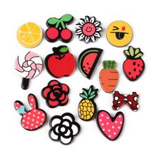 No Hole Fruit Plants Smiley Lollipop Bow-Tie Flower Shape Patch Sticker Acrylic Charm Pendant For DIY Jewelry Making Accessories(China)