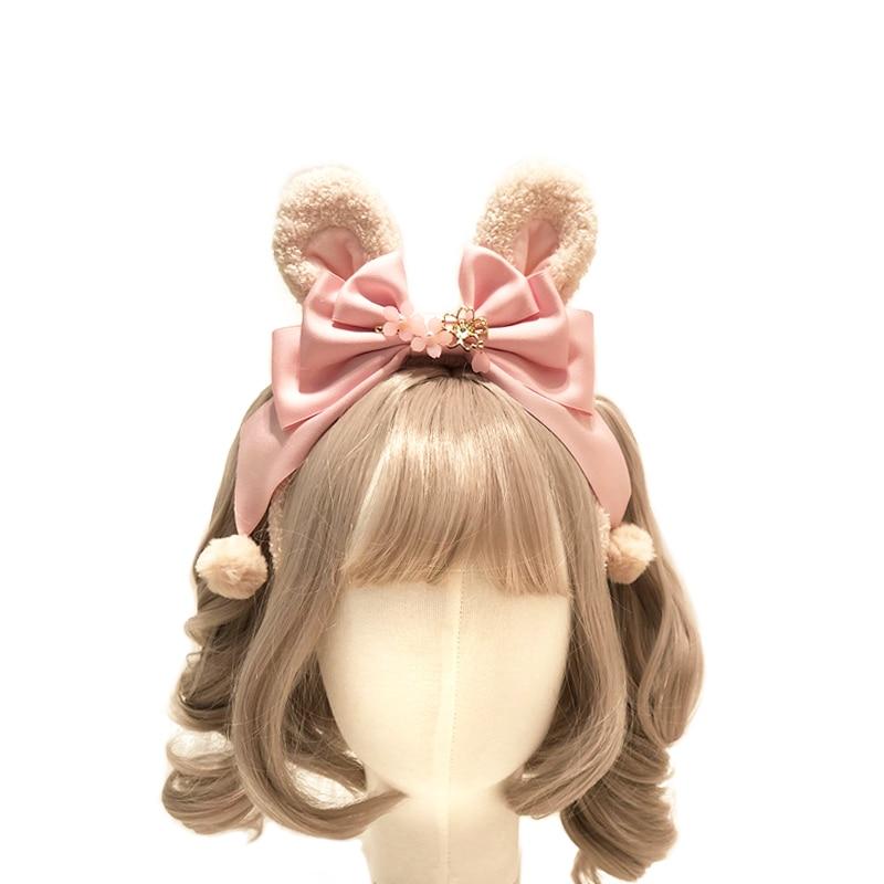 Lolita Japanese Kawaii Sakura Rabbit Ears KC Headwear Bow Pom Pom Headband Cosplay Hair Band Women's Handmade Hair Accessories