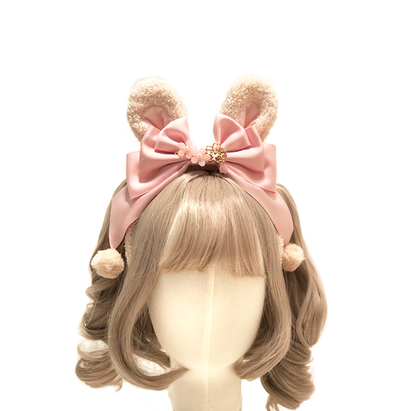 Lolita Japanese Kawaii Sakura Rabbit Ears KC   Headwear   Bow Pom Pom Headband Cosplay Hair Band Women's Handmade Hair Accessories