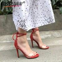 TASSLYNN 2019 Clear Heels Plastic Lace Up Women Shoes Ankle Strap Super High Womens Sandals Wedding Heels for Women Big Size