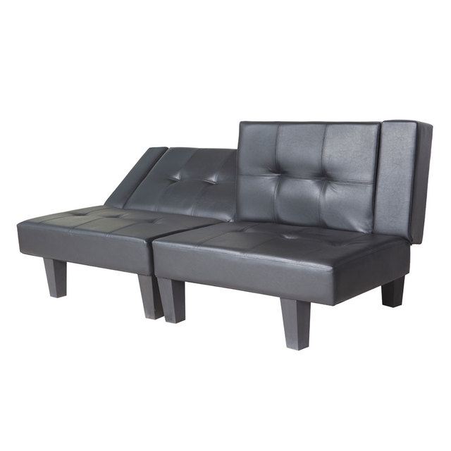 Functional Sofa Bed Chaise Lounge Sofa Set Black Faux Leather Living Room  Furniture HOT SALE Part 81