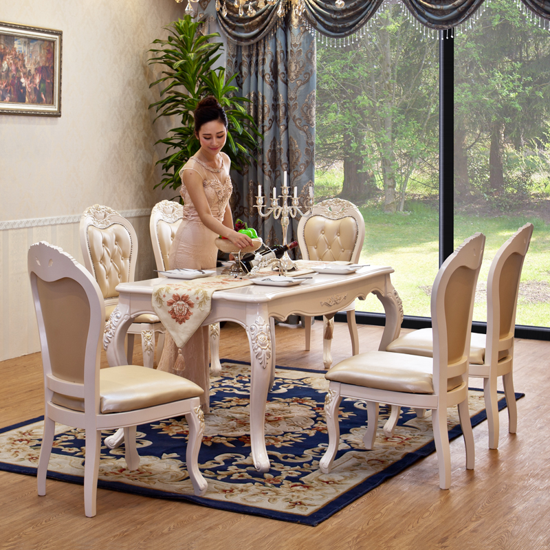 European Style Solid Wood Marble Dinning Table Set