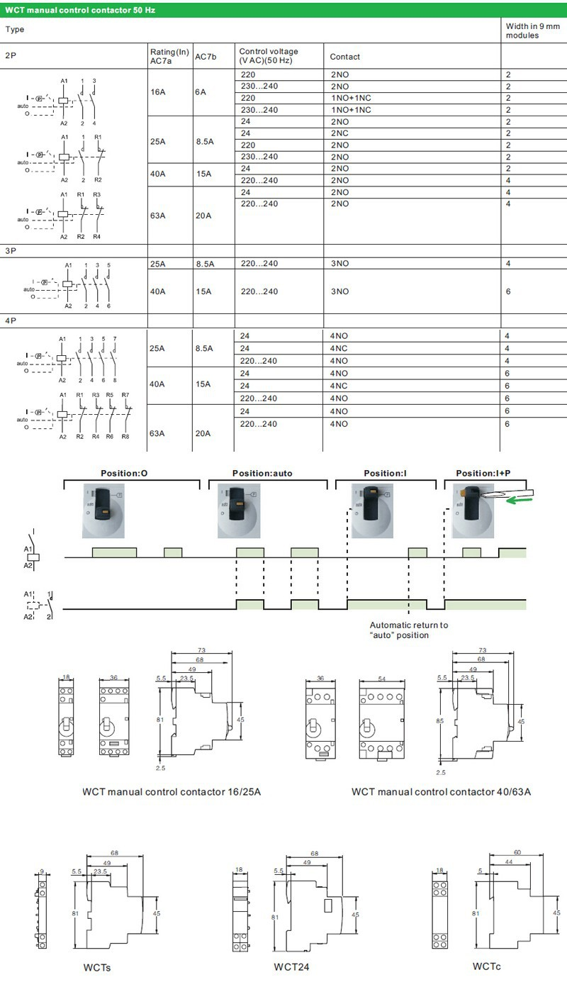 wct manual contactor specification