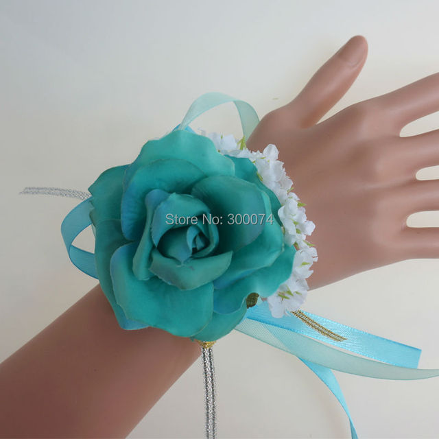 4pcslot artificial silk flowers corsage turquoise wedding prom 4pcslot artificial silk flowers corsage turquoise wedding prom decoration green roses for bride mightylinksfo