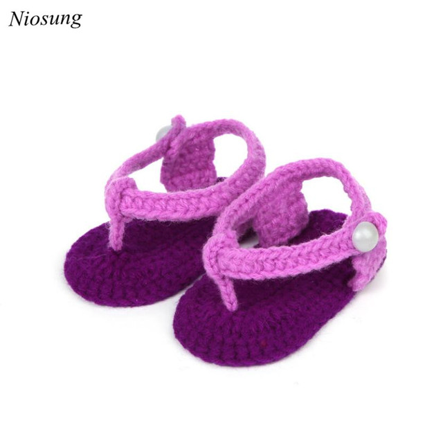9f4108df80511 New Crib Crochet Casual Baby Girls Handmade Knit Sock Clip Toe Infant Shoes  Soft Sole Sneaker