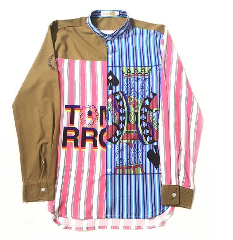 High New 2017 Men poker spades Jack Striped Fashion Cotton Casual Shirts Shirt high quality Pocket long-sleeves Top S 2XL #C43