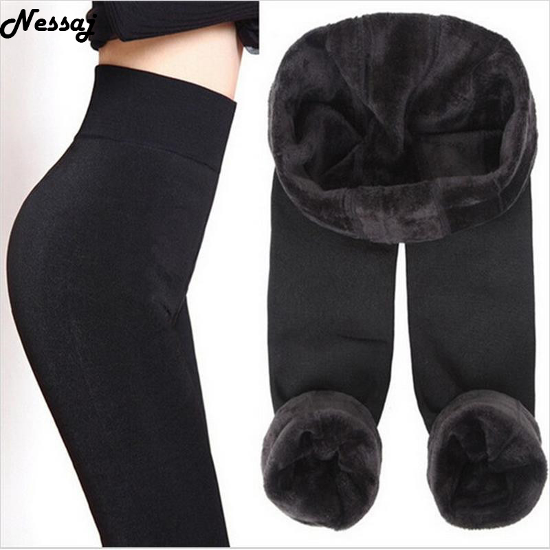 Nessaj Autumn Winter Fashion Explosion Models Plus Thick Velvet Warm Seamlessly Integrated Inverted Cashmere Leggings warm pants