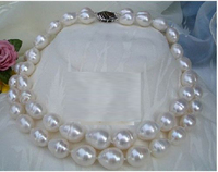double strands 9 10mm freshwater natural white baroque pearl necklace Pendants Free shipping