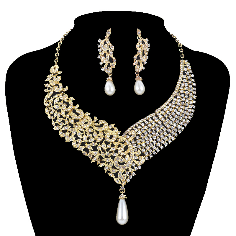 Gold metal plated necklace earrings bridal wedding jewelry for Costume jewelry for evening gowns