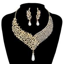 Metal del oro plateó el collar pendientes nupcial boda joyería establece Mujeres Partido cristal perla vestido de la manera pendientes set Accesorios