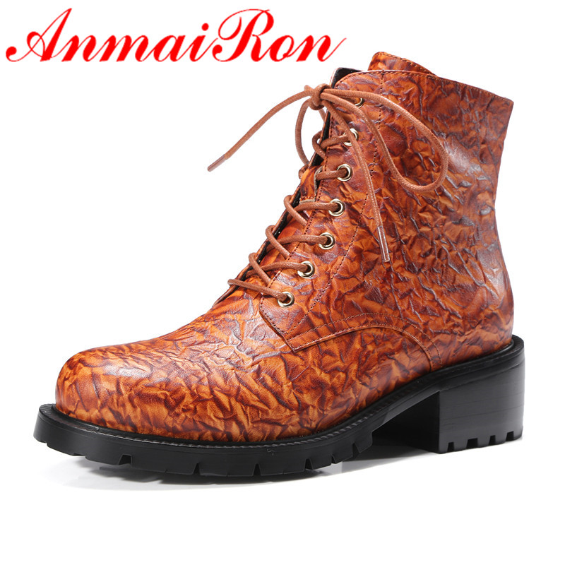 ANMAIRON Lace-up Round Toe Fashion Motorcycle Boots Shoes Woman Square Heels Spring &Autumn Ankle Boots for Women Platform Shoes