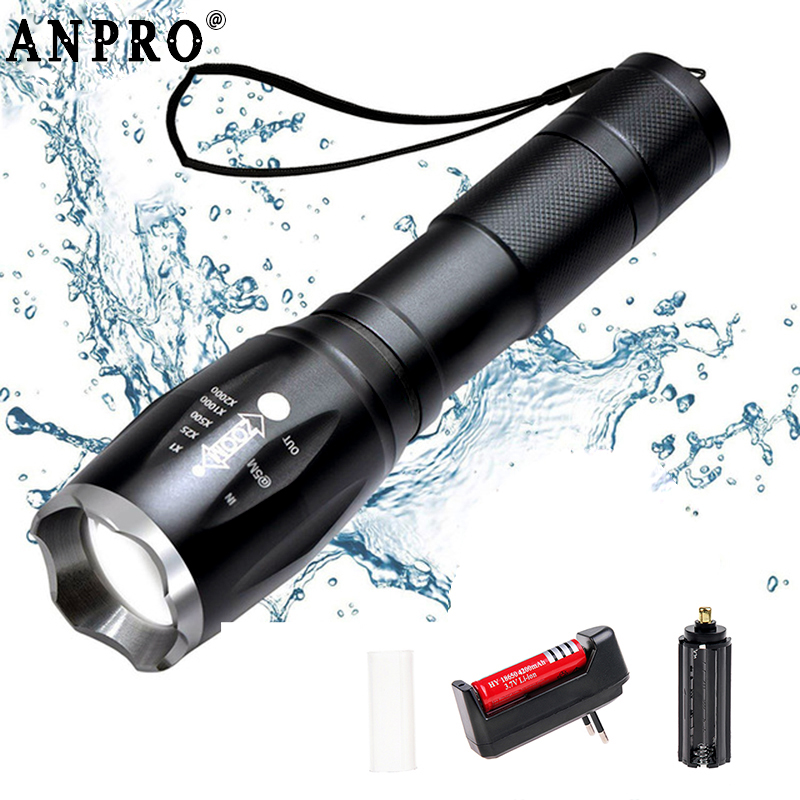 Anpro T6 L2 Led Flashlight Ultra Bright Torch Lanterna Waterproof Portable Tactical Flash Light Rechargeable For Outdoor Camping