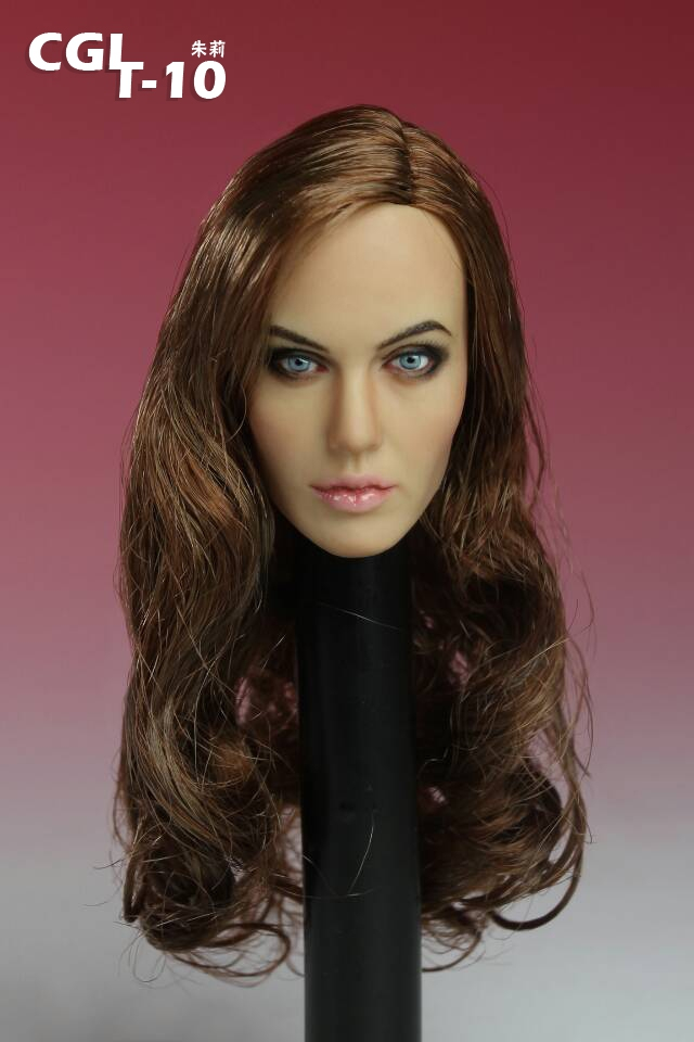 ФОТО CGL T-10 1/6 Scale Head Sculpt Angelina Jolie Head Carving Model Fit 12