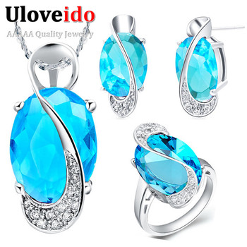 2014 New Sterling 925 Silver Jewelry Set Wedding Love Oval Blue Red Purple Stone CZ Zircon Ring Pendant Earrings Finely Cut Чокер
