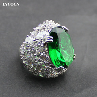 LYCOON Newest AAA Class Green Blue Rose Red Crystal Rings Elegant Queen Ring Silver Plated Luxury