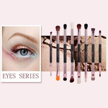 Msq Professional Makeup Brushes Set Rose Gold Double Ended Cosmetic Make Up Brush Foundation Eye Beauty Tool PU Leather Cylind fafula professional makeup tool double ended contour define eye shadow brush black