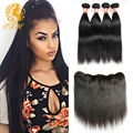 Full Lace Closure Ear To Ear With Bundles Cheap Malaysian Hair 4 Bundles And Closure 7a Black Straight Frontal With Baby Hair