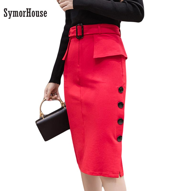 f492a6a19 New Fashion Office Skirts women High Waist Midi Skirt Red Black Bodycon OL Pencil  Skirts Buttons Open Slit Elegant Womens Skirts