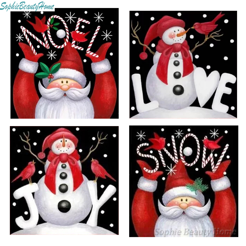 Christmas Gift 5D DIY Diamond Paint Cross Stitch Card Snowman Craft Embroidery Diamond Painting 3D Diamond Mosaic Home Decor