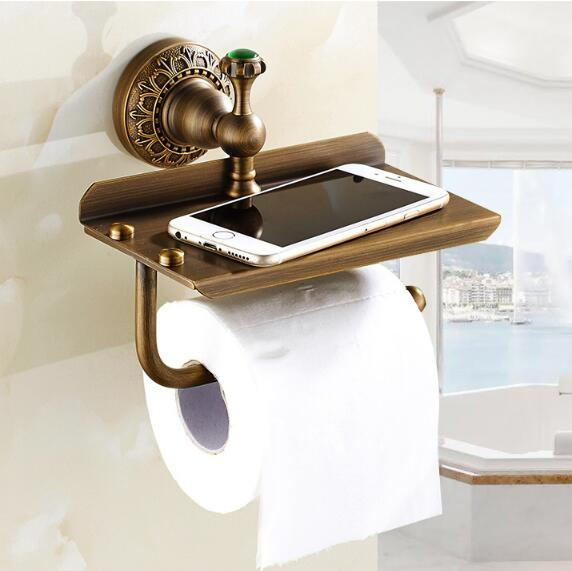 Free Shipping antique bathroom paperroll holder with phone shelf bathroom Mobile phone towel rack toilet paper holder tissue box flg oil rubbed bathroom paper phone holder with shelf bathroom mobile phones towel rack toilet paper holder tissue boxes g506